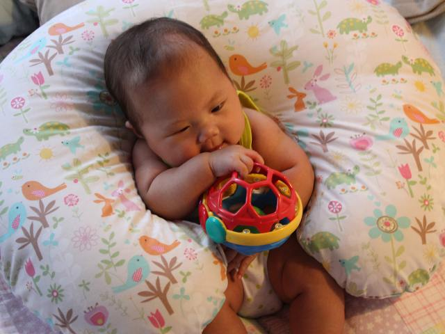 Baby Grasping Her Toy