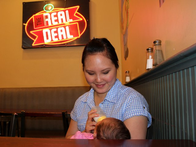 Feeding Baby in a Restaurant