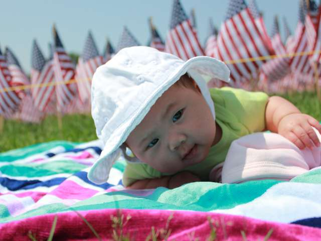 Memorial Day at Boston Common - On Tummy By Flags