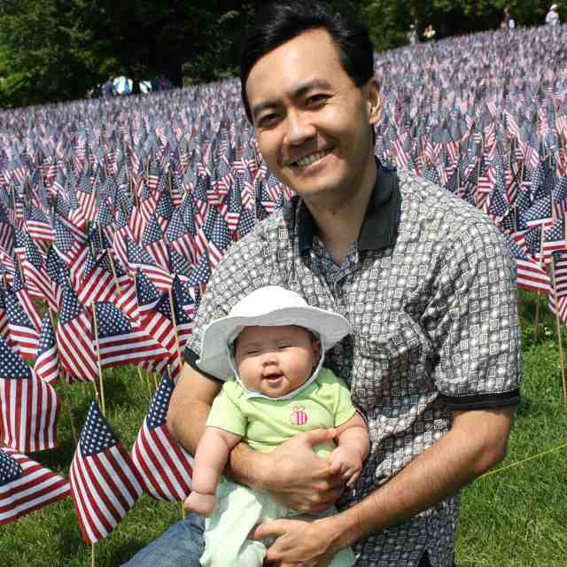 Memorial Day at Boston Common - With Daddy By Flags